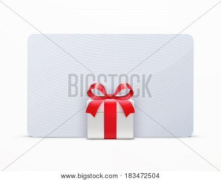 Vector illustration of glossy gift box with red ribbon bow and empty white greeting card isolated on a white background