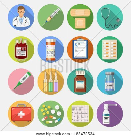 Set of medical and healthcare icons in flat style on colored circles with Long Shadows like Doctor, Health treatment, blood transfusion, cardiogram, prescription. isolated vector illustration
