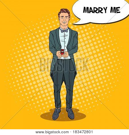 Pop Art Handsome Man in Tail-Coat with Wedding Ring. Marriage Proposal. Vector retro illustration