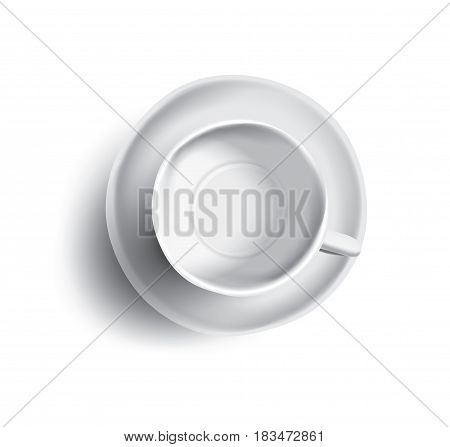 Vector illustration of empty cup of tea or coffee, top view. Isolated on white background