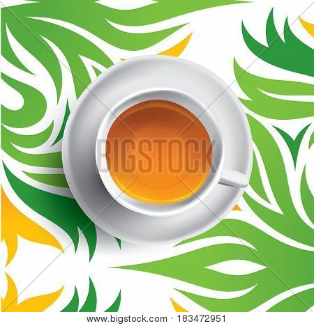Tea cup vector illustration. Isolated on white background.