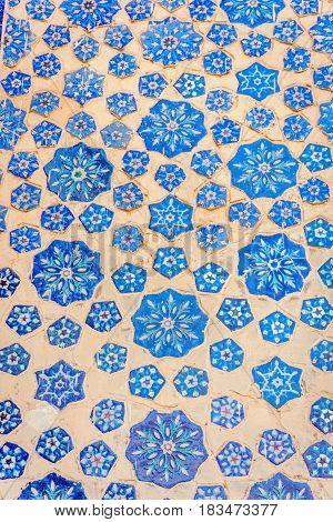 Blue Tiles In A Wall Of Samarkand Registan, Uzbekistan