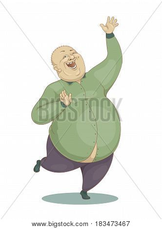 Hand drawn vector cartoon illustration of a jumping laughing large bald man in a green shirt