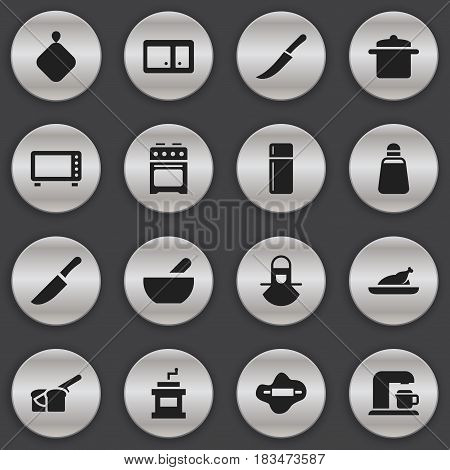 Set Of 16 Editable Cooking Icons. Includes Symbols Such As Bakery, Sideboard, Dough And More. Can Be Used For Web, Mobile, UI And Infographic Design.