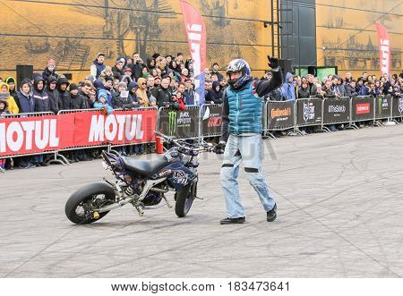 St. Petersburg Russia - 15 April, Show of sports bikers,15 April, 2017. International Motor Show IMIS-2017 in Expoforurum. Sports motorcycle show of bikers on the open area.