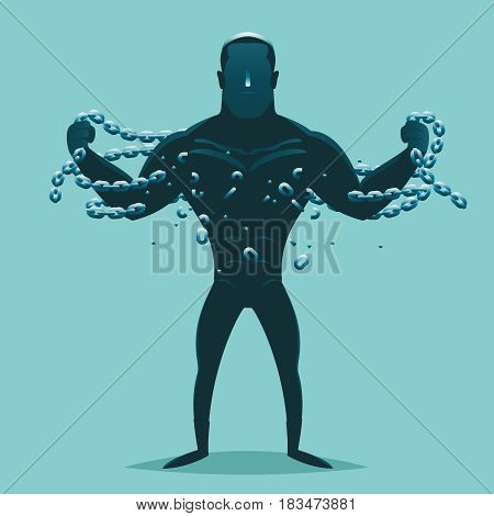 Super hero release breaking chains liberation cartoon silhouette concept design vector illustration