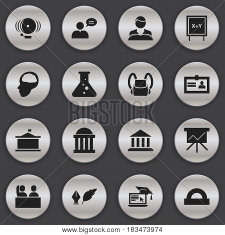 Set Of 16 Editable University Icons. Includes Symbols Such As Chart Board, Cerebrum, Schoolbag And More. Can Be Used For Web, Mobile, UI And Infographic Design.