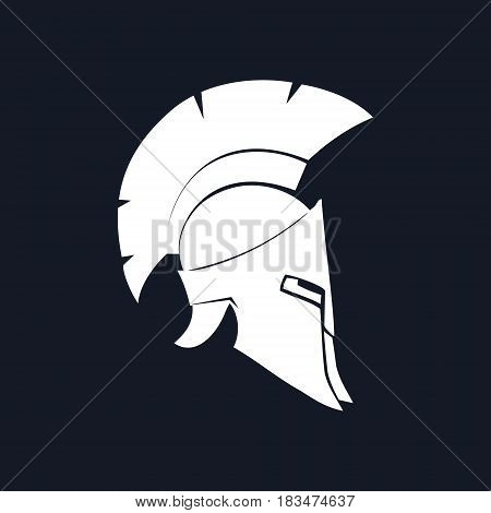 Antiques Roman Helmet, Silhouette Greek Helmet for Head Protection Soldiers with a Crest of Feathers or Horsehair with Slits for the Eyes and Mouth, Black and White Vector Illustration