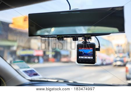 CCTV car camera. Dash camera in car.
