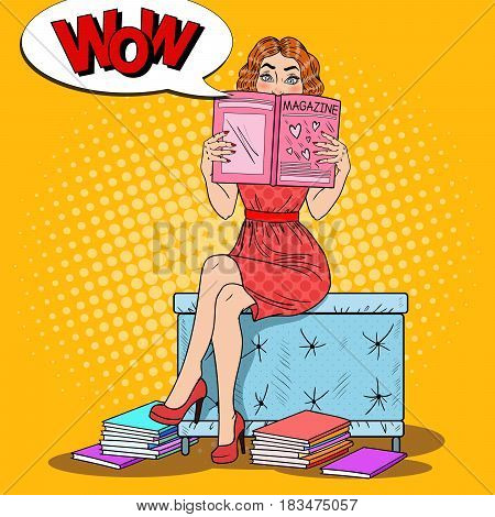 Teenager Girl Reading Fashion Magazine. Pop Art vector illustration