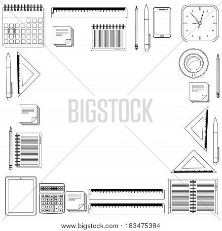 Set hand draw office tools. Calculator, rulers, pen, pencil notebook coffee phone