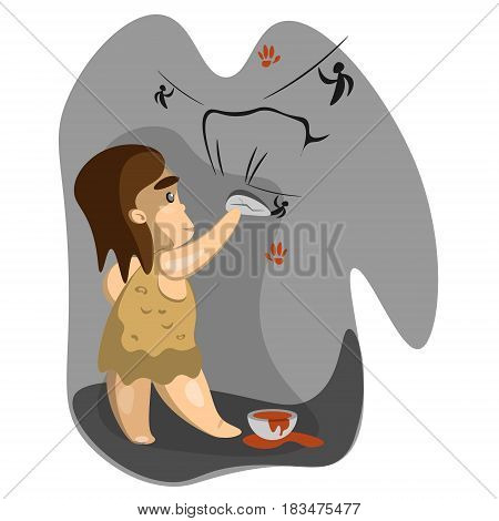 Caveman write on stone with charcoal. Vector illustration