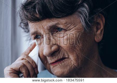 Portrait Of Crying Senior
