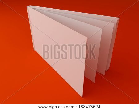 3D Illustration of Blank Brochure Template on color background
