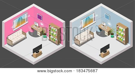 Isometric interior of room boy and girl. Vector illustration