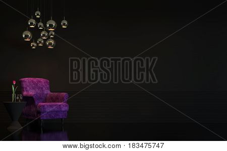 Modern luxury black living room interior 3d rendering image.There are minimalist style Empty black wall and purple armchair