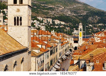Tower of the Franciscan Monastery or Church of the Small Brotherhood on Stradun Street in Dubrovnik, Croatia.
