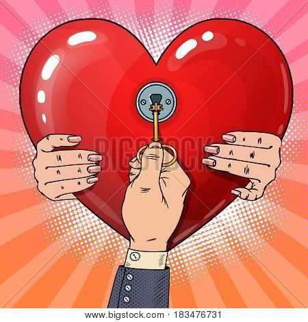 Mens Hand with Key from Womans Heart. Pop Art retro vector illustration