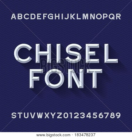 Chisel Alphabet Vector Font. Type letters and numbers. Blue wave background. Chiseled block typeface for your design.