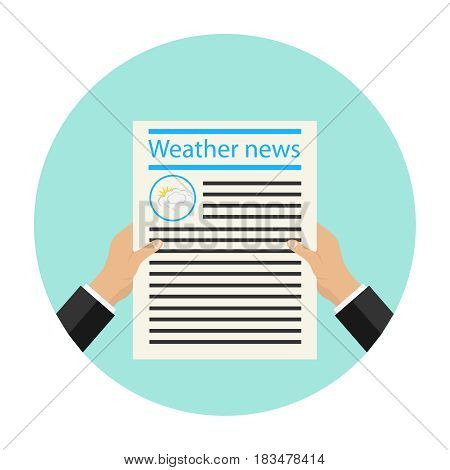 The newspaper is in hand. Flat design vector illustration vector.