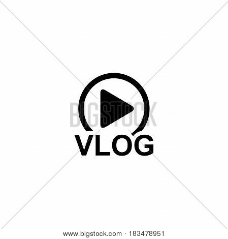 Vlog on white background vector icon. Play sign