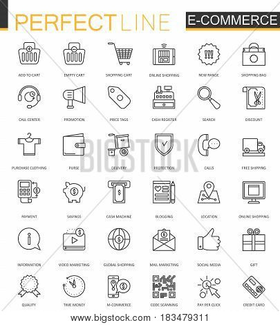 E-commerce and shopping thin line web icons set. Outline icon design
