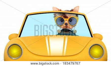 Funny puppy sitting in the yellow cabriolet with sunglasses isolated on white background. Car rental and buying concept concept. 3D illustration with clipping path