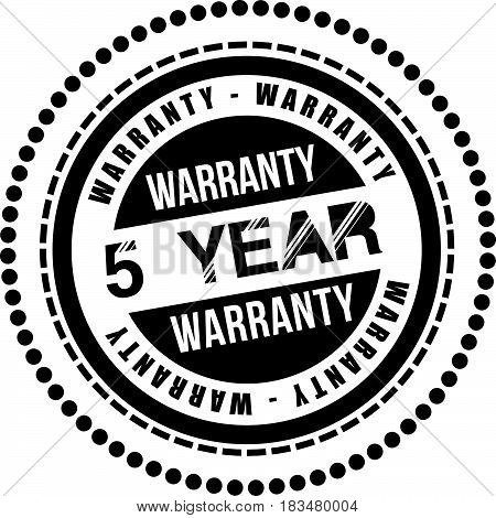 5 years warranty label icon vector background
