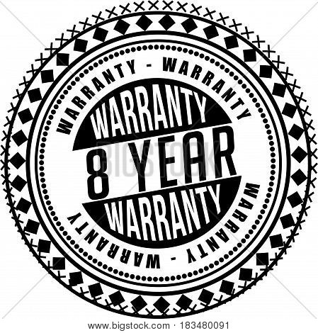 8 years warranty label icon vector background