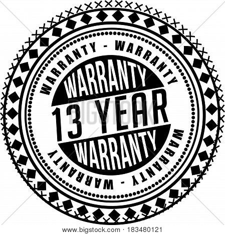 13 years warranty label icon vector background