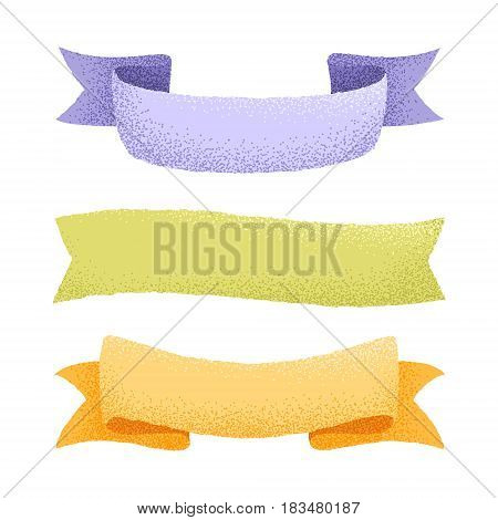 Vector collection of hand drawn ribbon with graine effect. Isolated banner, label, badge, border set for greeting, invitation, wedding cards and prints