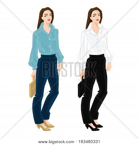 Vector illustration of corporate dress code. Business women in blue and black formal clothes and classic shoes