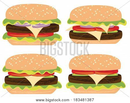 Cartoon delicious big tasty burger fast food illustration.