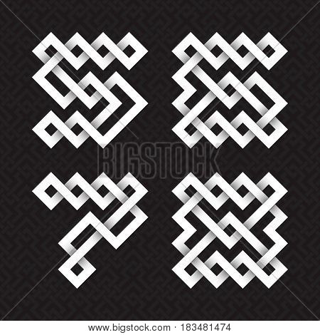 Font of interwoven strips. Five, six, seven, eight white relief figures on a black patterned background.