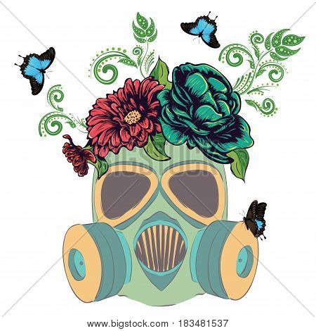Gas Mask With Roses