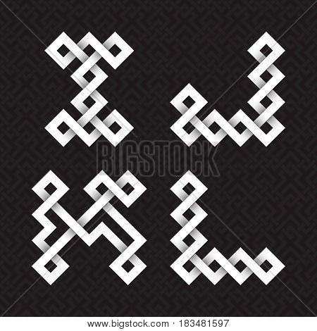 Font of interwoven strips. I, J, K, L white relief letters on a black patterned background.