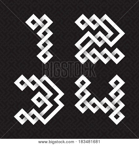 Font of interwoven strips. One, two, three, four white relief figures on a black patterned background.