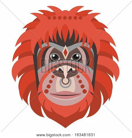 Orangutan head Logo. Monkey Vector decorative emblem illustration