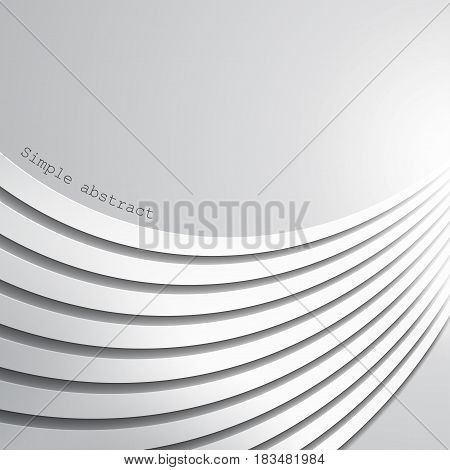 Abstract background of layers of curved paper lines in perspective isolated over light background. For presentations, various backgrounds, advertising, printed products