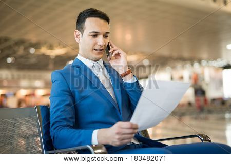Businessman cell phone