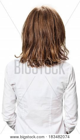 Back view of young woman with damaged fair hair over white background.