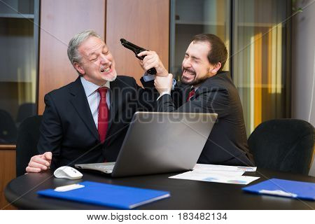 Man trying to stop his colleague from shooting himself