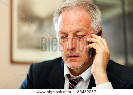Portrait of a smiling senior businessman talking on the phone in his office