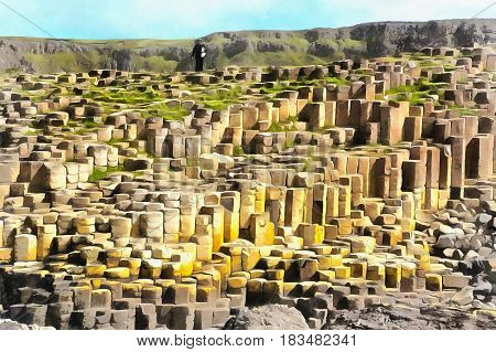 Colorful painting of Giant's Causeway, Causeway Coast, Northern Ireland