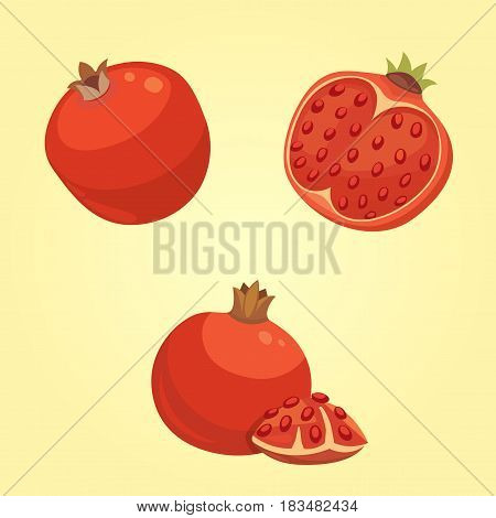 Whole and cut pomegranate icon set. Cartoon isolated vector illustration.