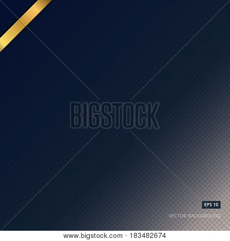 abstract blue background vector and black mesh pattern with gold label.