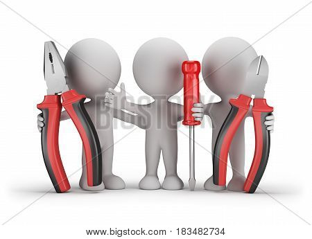 Three people with the tools in the hands of. 3d image. White background.