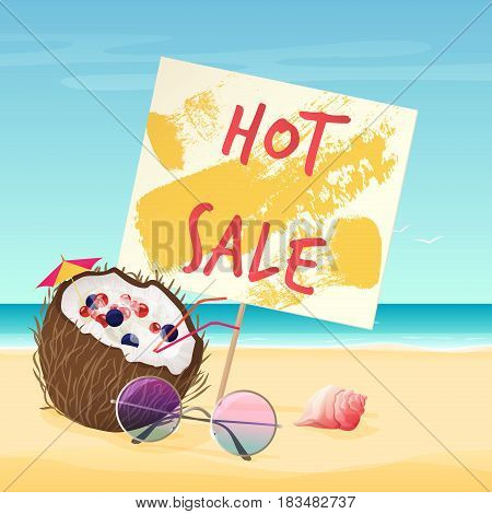 Vector illustration of hot sale text on sign on the beach near coconut, sunglasses, and shell