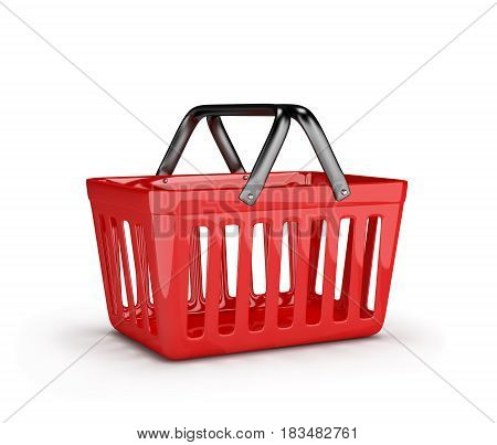 Red shopping market basket. 3d image. White background.