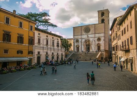 TODI, ITALY - APRIL 25, 2017: Tthe medieval and renaissance cathedral of Santissima Annunziata (Duomo) in the old town of Todi, Umbria